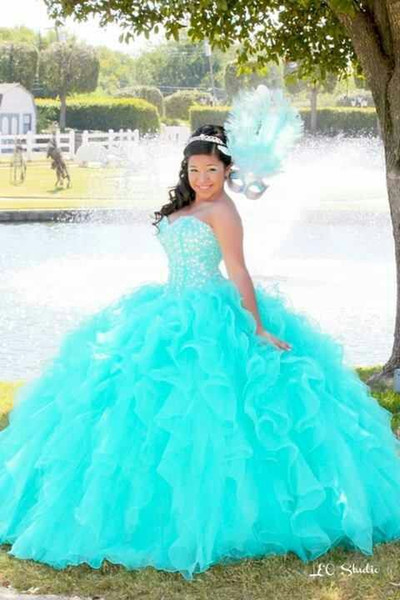 Aqua Beaded Crystal Quinceanera Dresses Sweetheart Back Lace Up ball gown Prom Gowns 2015 For 15 Years Vestidos de Festa