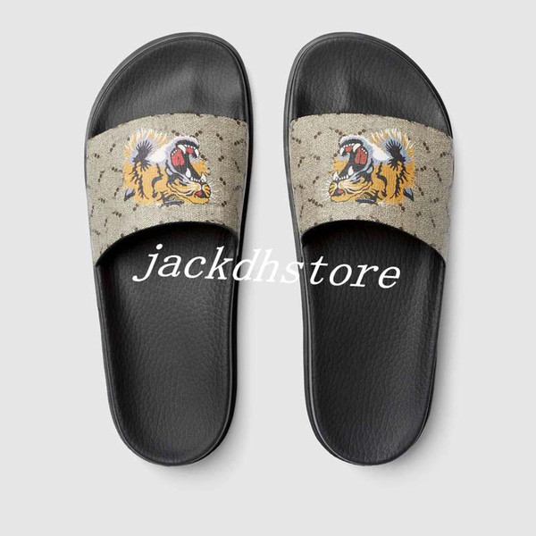 best selling mens fashion thick Molded rubber footbed slide sandals with Beige ebony tiger print euro38-46 box+dust bags