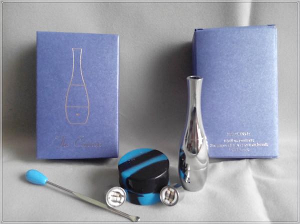 replacement wicks wax vaporizer dual coil wax vape pen electronic cigarette vase cannon atomizer set with dab tool wax jar retail box