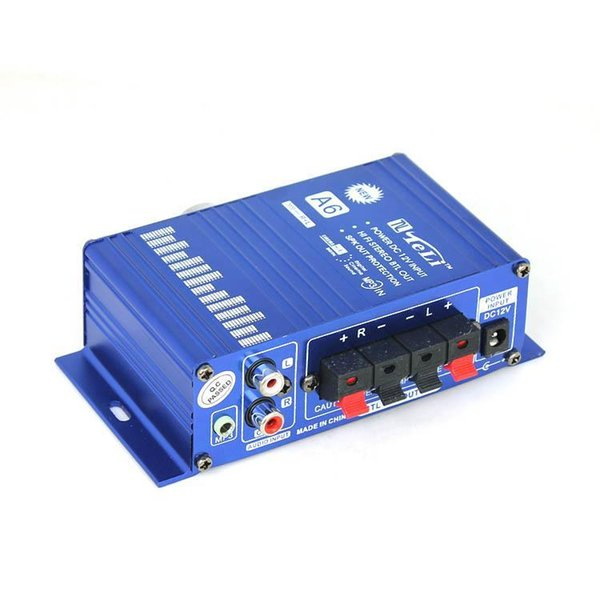 best selling 12V DC Mini Hi Fi Music Audio Stereo Amplifier A6 for Car Motorcycle Boat Home MP3 CD Usage Newest