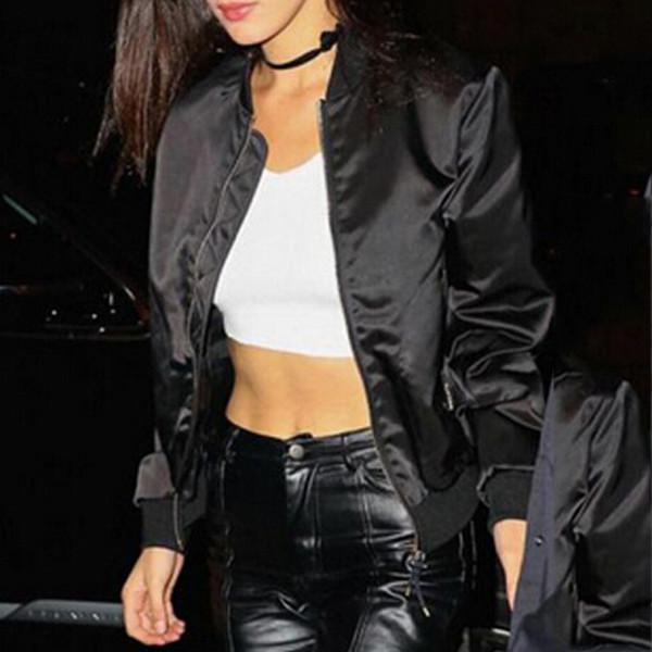 Gros-New Casual Style Gilrs À Manches Longues Veste Blouson Femmes Hip Hop Costume Zipper Slim Coupe-Vent Basique Manteau Court
