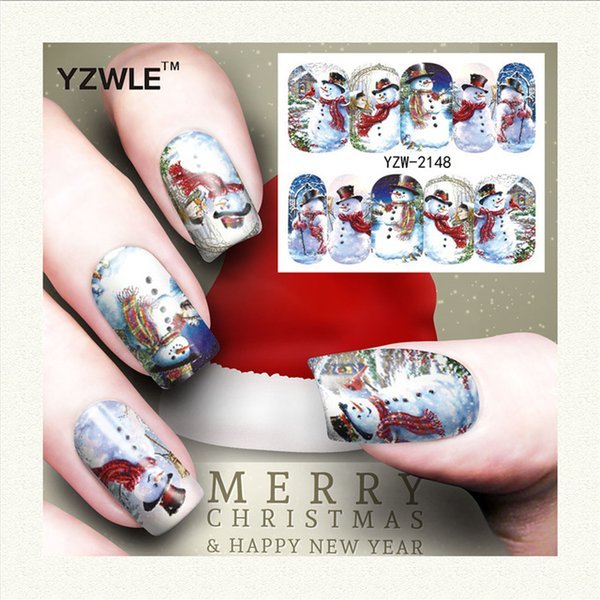 Wholesale Yzwle 1 Sheet Christmas Design Diy Decals Nails Art Water