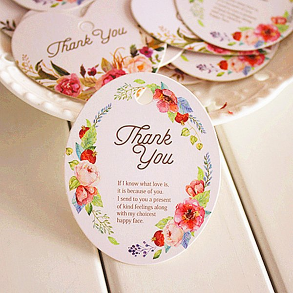 50pcs Vintage Flower Thank You DIY Scrapbooking Paper Kraft Blank Hang Tags Crafts Wedding Postcards Gift Tag Label Card