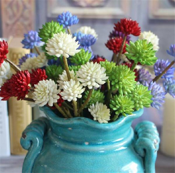 "NEW Plastic Stone Lotus 32cm/12.6"" Length 10Pcs/lot Cream/Purple/Green/Blue/Red 6 Flower Heads per Bunch for Wedding Flower"