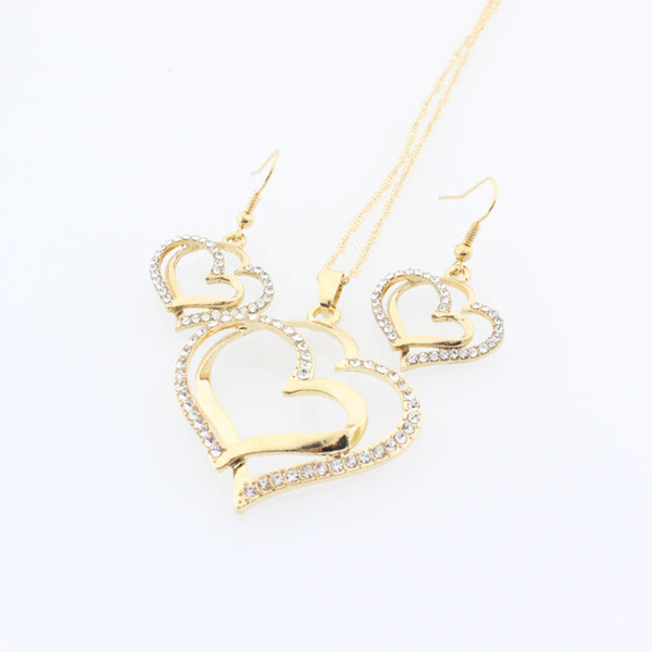 Romantic Wedding Creative Necklace Earring Set Fashion Luxury Crystal Charm Gold Plated Silver Heart Accessories Free Shipping