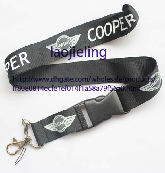 NEW Wholesale 120 pcs car logo MINI Cooper Key Chain Lanyard Cell Phone Ipod Strap Neck Pass Logo Keychain ID