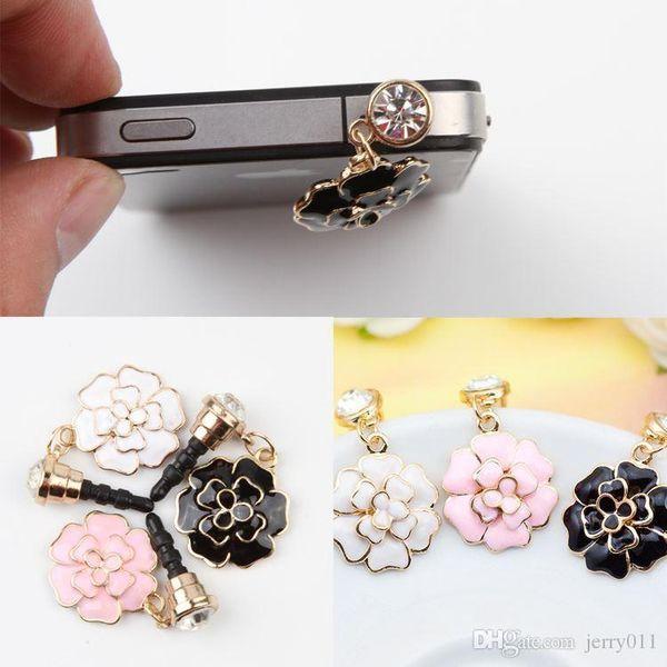 Camellia Shaped Mobile Phone Dust Plug 3.5mm Universal Headphone Plug Dust Plug 3 Colors Drop Shipping PA-0030