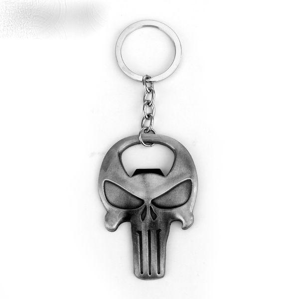 Key Rings Classic Game The Punisher Key Chain Bronze Skull Logo Bottle Opener Keychain Fashion Cool Pendant Keyring For Key Holder