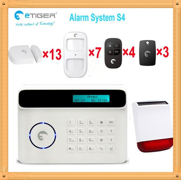 Free DHL, Radio Frequency 433mhz good signal intruder alarm for home security gsm with LCD and 4 languages German French Spanish English