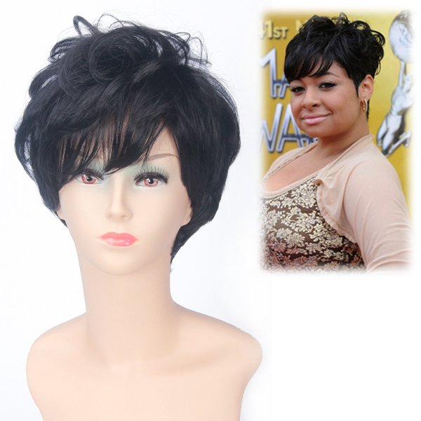 Z&F Brand New 32CM Women's Shot Wigs Synthetic High Temperature Fiber Black Color Nature Hair Style Wigs