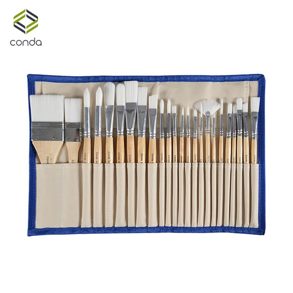 best selling Conda 24 Pcs Chip Paint Brushes Set Professional Synthetic Short Handle W Brush Case Art Supplies Watercolor Oil Paint Brush