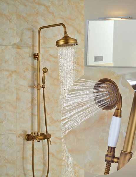 "Wholesale And Retail Wall Mounted Antique Brass 8"" Round Rain Shower Faucet Set Tub Spout Mixer Tap W/ Hand Shower Sprayer"