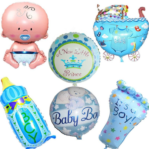 6pcs/set 18 inch Baby Girl & Boy 1th Happy Birthday Helium Globos Foil Balloons Baby 1th Birthday Party Decoration Air Balloon
