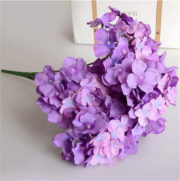 "HOT Silk Hydrangea Bunch 57cm/22.44"" Length 15P Artificial Flowers Hydrangeas Large Flower Head for Wedding Centerpieces 12 Colors"