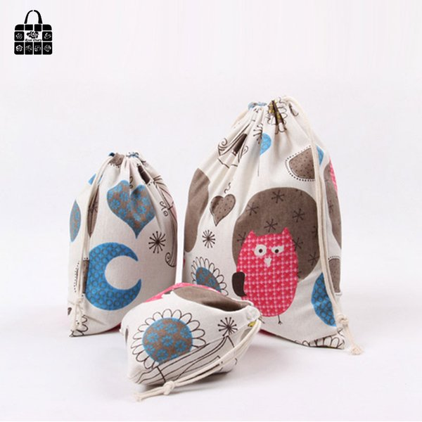 Wholesale- Cute owl print cotton linen fabric dust cloth bag Clothes socks/underwear shoes receive bag home Sundry kids toy storage bags