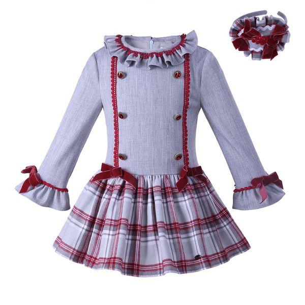 Pettigirl Kids Designer Girls Dresses Long Sleeve Kids Popular Lattice Baby Girls Dresses Boutique Bow Children Clothes G-DMGD007-A129