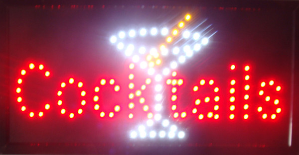 New OPEN Cocktails Bar Pub Club Classic LED Neon Light Sign 19*10 Inch Free Shipping