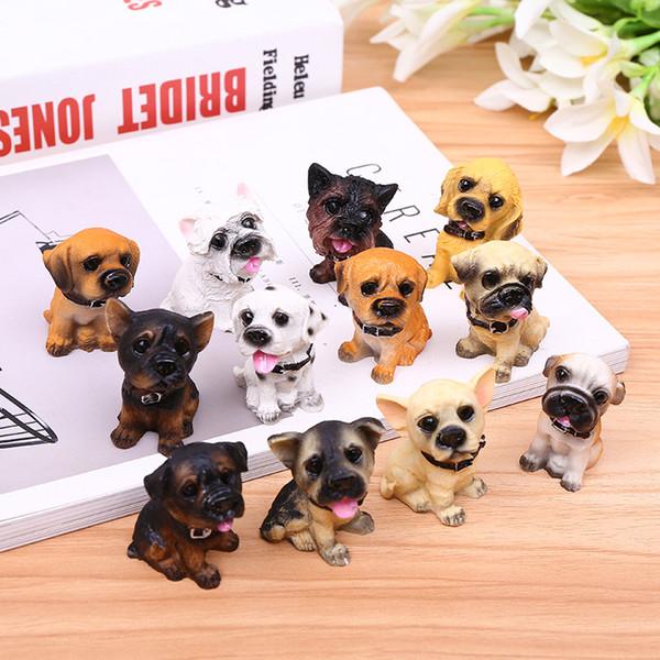 12pcs miniature chiens de résine de fée à la recherche de vous jardin bien fond