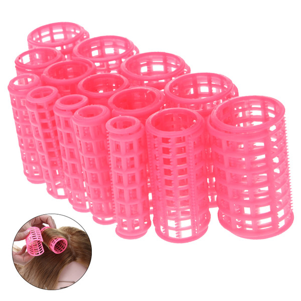 15pcs/set Plastic Hair Curler Roller Large Grip Styling Roller Curlers Hairdressing DIY Tools Styling Home Use Hair Rollers