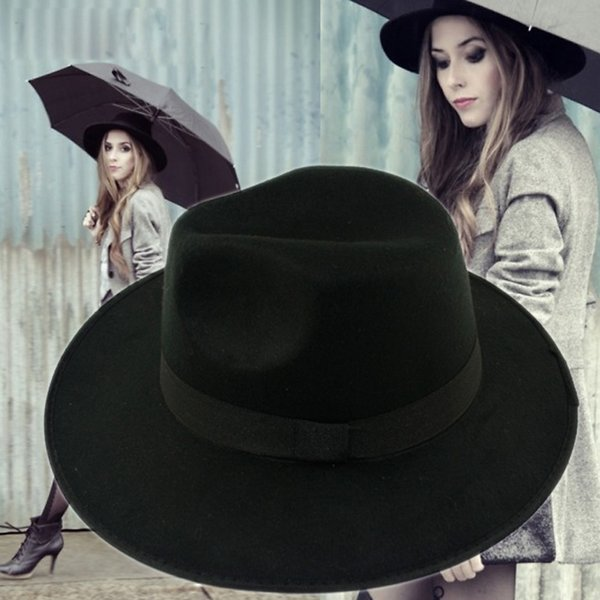 Wholse Casual Fedora Hats For Women Cashmere Wool Fedoras Panama Hat Autumn Winter Trilby Gorro Chapeu mx0357
