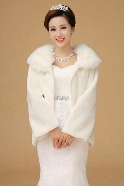 Faux Fur Ivory Winter VBridal Wrap with Long Sleeve Shawl Wedding Bridal 2015 Bride Bridesmaid Cheap Real Image made In China