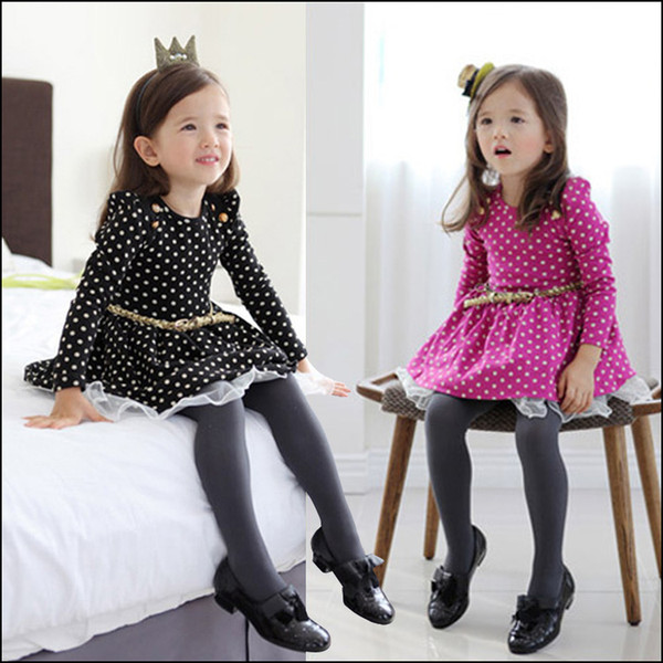 Girls long sleeve Dress 2-8Y Kids Autumn clothes children's dots dresses with belt Princess Party Dress free shipping MOQ:20pcs SVS0468#