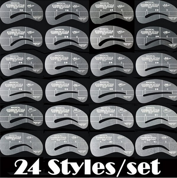Eyebrow stencils 24 styles/Set Grooming Stencil Kit Reusable Eyebrow Card Brow template Shaping DIY Beauty Make Up Tools best price