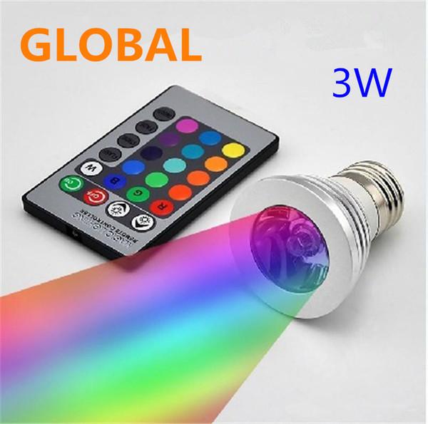 best selling LED RGB Bulb 3W 16 Color Changing 3W LED Spotlights RGB led Light Bulb Lamp E27 GU10 E14 MR16 GU5.3 with 24 Key Remote Control 85-265V & 12V