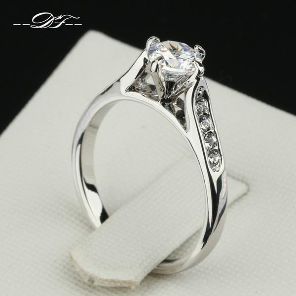 Klasik 1ct CZ Elmas Kakma Nişan Yüzüğü Toptan Platin Kaplama Moda Marka Düğün Takı Kadınlar Için anel joias DFR064