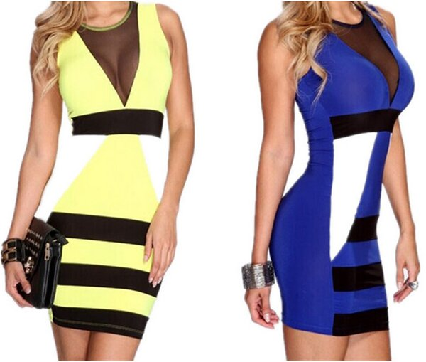 Summer Modern Star Style Bodycon Dress Sexy Cocktail Dresses Sleeveless Dress Gauze Element Patchwork Deep V-Collar Slimming Wrap Dress