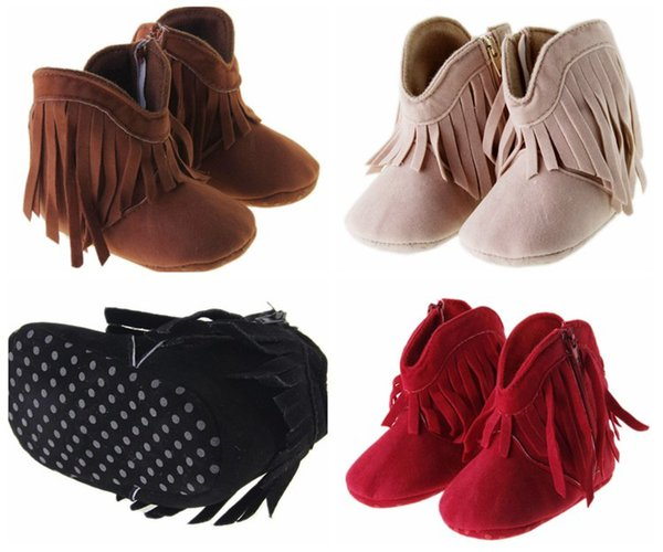 best selling new winter high waist zipper tassel casual plus velvet baby toddler boots PU soft bottom infant girl balancing warm boots 12pair 24pcs