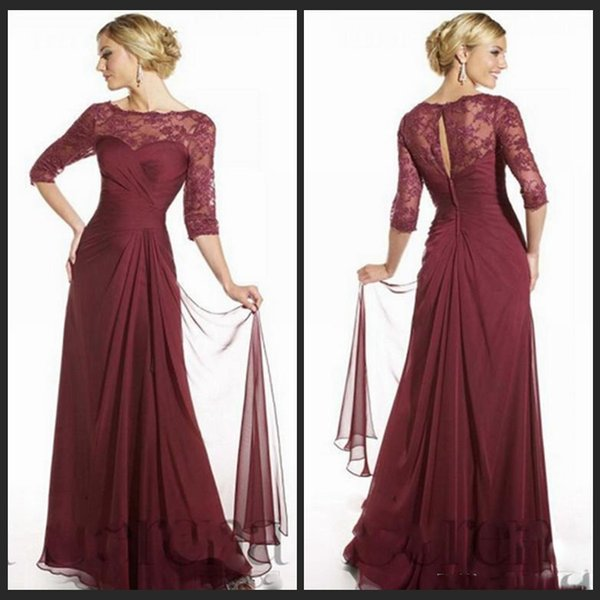 2016 Elegant Maroon Mother Dresses Scoop Neckline 3/4 Long Sleeves Floor Length Lace Chiffon Formal Gowns Wedding Party Dresses