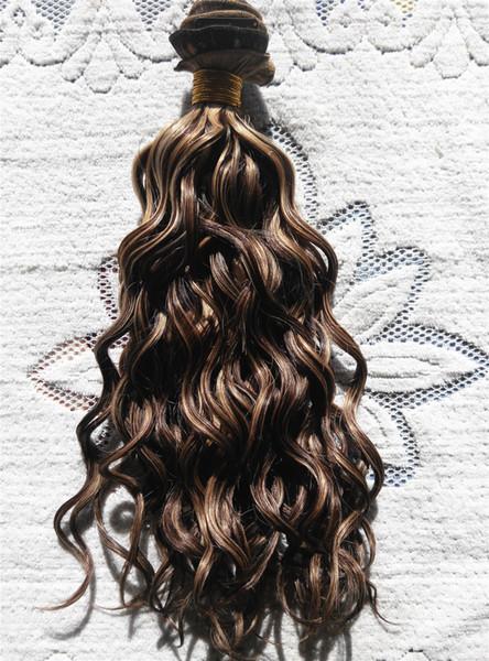 neue brasilianische jungfrau tiefe lockige haare schuss clip in menschliches haar extensions unverarbeitete F4 / 27 # Fbrawn / bonde farbe 9 stücke 1 satz