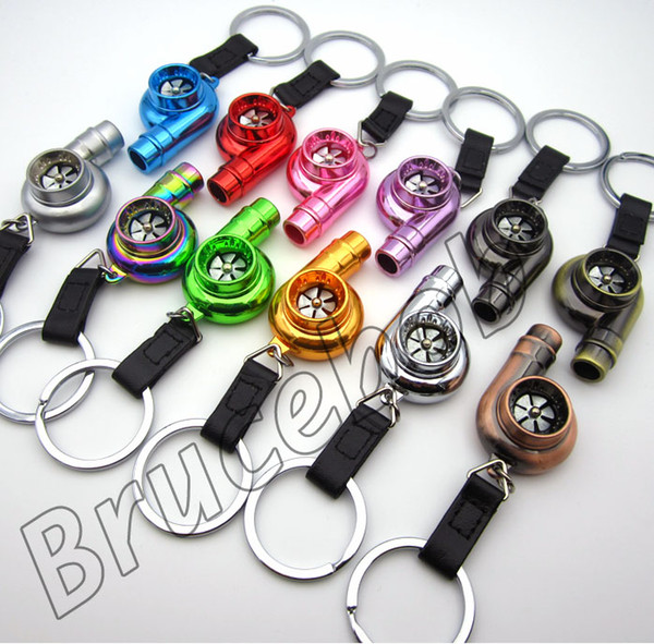 Metall Eloxiert Whistle Sound Turbolader Keychain Spool Drift JDM TDI VAG Auto Teile Modell Spinning Key Fob Schlüsselring