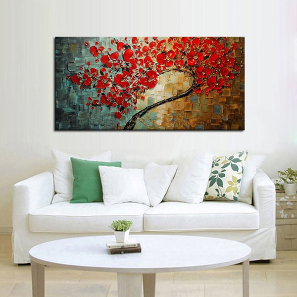 Free shipping Abstract Red Flower Tree Knife Oil Painting On Canvas Beautiful Picture Wall Art Home Decor Nice Gift
