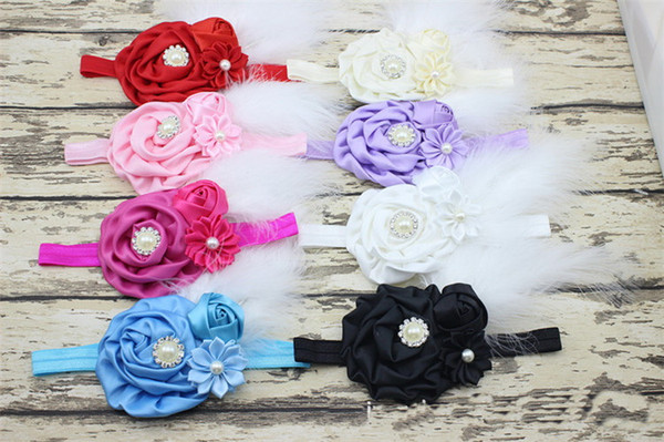 50PCS New Baby Rose Flower and Feather Headband for Girl Hair Accessories Baptism Baby Hair band Newborn princess Photo Prop YM6123
