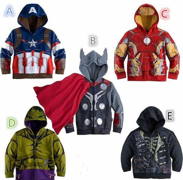 Großhandel Kinder Pullover Baby Captain America Jacken Avengers Hulk Thor Eisenmann Superheld Cosplay Kids Kapuzenshirt Kids Kleider Von