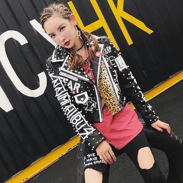 top popular 2020 Women Punk Party Street Letter Printing Leather Jacket Black Rivet Beading Long Sleeve Motorcycle Leopard Rock Coat 2020
