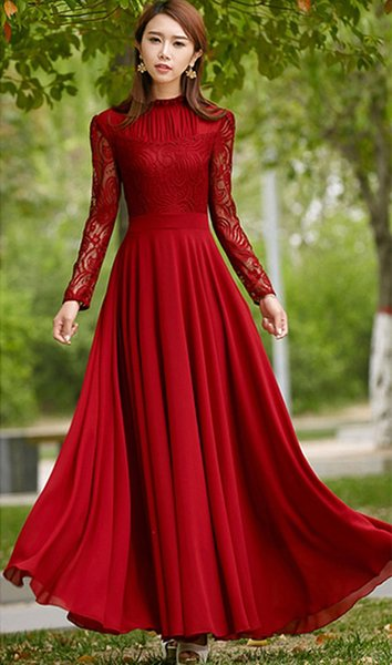 Spring Summer 2017 Elegant Women Ruffle Collar Chiffon Lace Dress Floor-Length Red Gown Maxi Dresses Long Party Dresses
