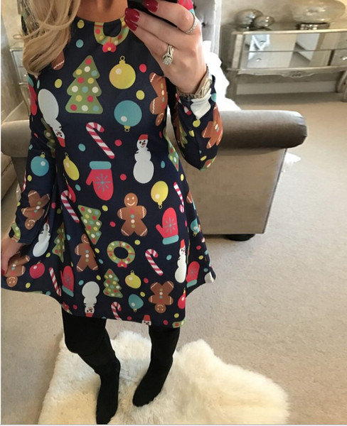 best selling Christmas Long Sleeves Woman Girls Dress Deer Snowman Flower Christmas tree Printed Skirt for Party Dresses lady Xmas clothes