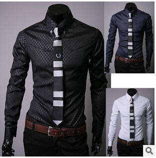 top popular Hot sale men Slim business blouse cotton mens designer clothes turn-down collar tommis shirts fashion Obscure argyle dress shirt 2019