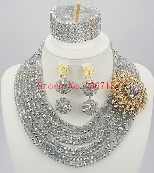 Fashion design Hot sales Nigerian wedding African beads jewelry set crystal beads for women wedding and party SD801-1