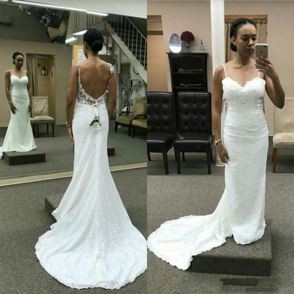 Simple Lace Spaghetti Beach Wedding Dresses Sexy Backless Mermaid Bridal Gowns Sweep Train Cheap Women Vestidos Dress For Wedding Maternity Wedding