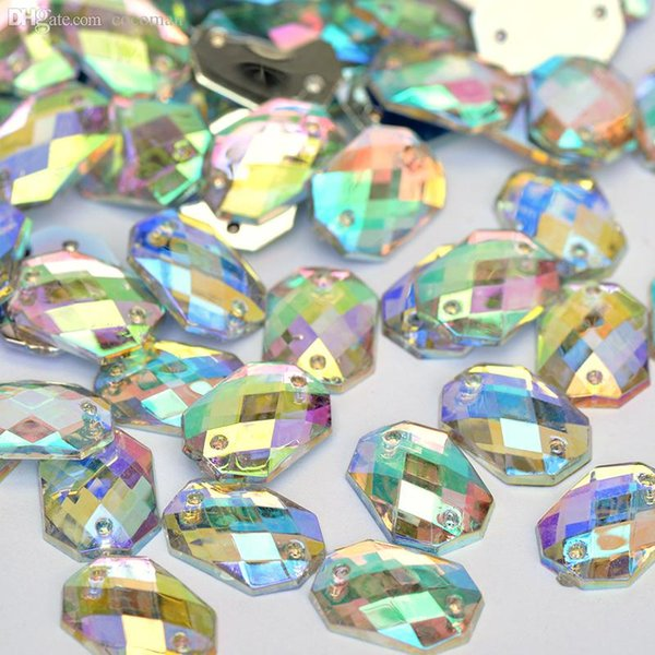 Wholesale-10*14mm Square Octagonal Crystal AB Rhinestone Sew On Flatback Acrylic Gems Strass Crystal Stones For Clothing Dress Decorations