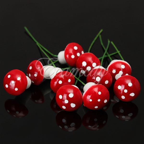 10pcs Lovely resin crafts Decorations Miniature Dot Mushrooms Red fairy gnome terrarium Christmas Xmas Party Garden Decor Gift order<$18no t