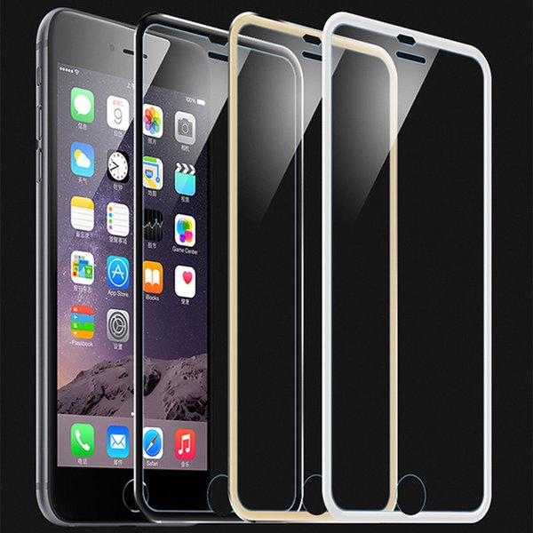 Multi Color Tempered Glass Full Cover Screen Protector Ultra-Thin 3D Curved Edge Titanium Alloy Design For iPhone7/7plus/6/6plus/5/5s