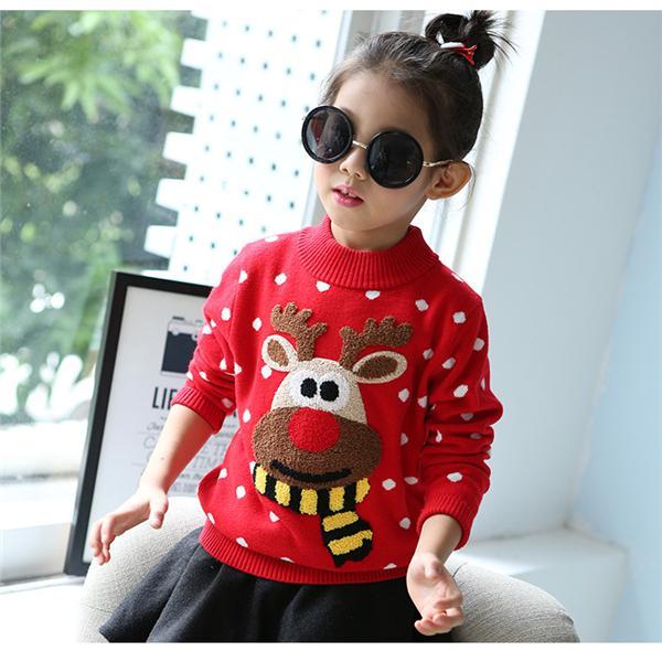 Bambini Natale neve alce inverno nuove ragazze in cotone rosso che basa a maniche lunghe maglione maglione cappotto cappotto per bambini