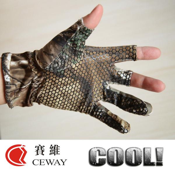 top popular Nonslip Hunting Fishing Outdoor Sports Glove Camouflage Comfortable Anti Slip Elastic Fingerless Fishing Gloves Skidproof Mitten Fish Tackle 2021