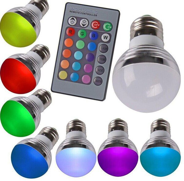 2015 ventas calientes E27 RGB 16 colores LED lámparas de la bombilla Spotlight 85-265V + control remoto IR envío gratuito