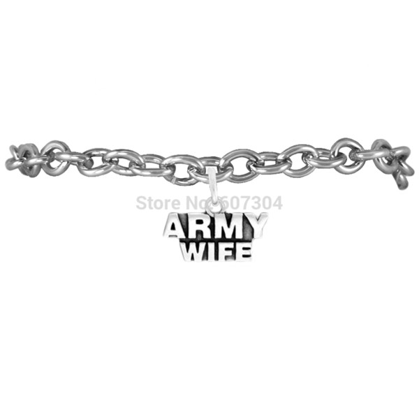 10Pcs/Lot Zinc Alloy Antique Silver Plated Hand-made Fashion Message Series Army Wife Charm Bracelet Jewelry Made In Zhe Jiang